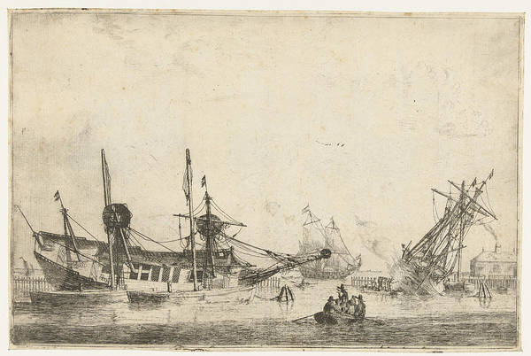 Mat Drawing - Two Keeled Sailboats, Reinier Nooms by Reinier Nooms