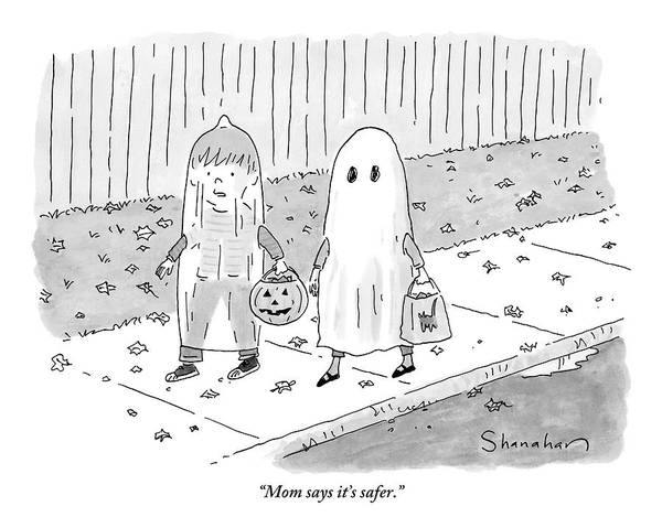 Ghosts Drawing - Two Kids Go Trick Or Treating by Danny Shanahan
