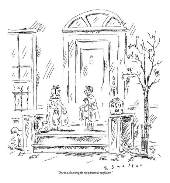 Trick Drawing - Two Kids In Costume On Halloween.  One Has Two by Barbara Smaller