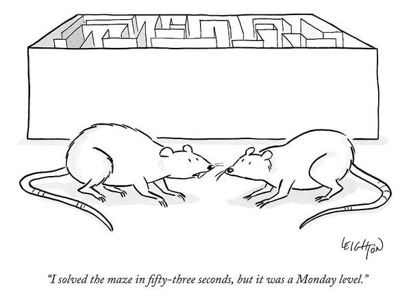Experiment Wall Art - Drawing - Two Labs Rats Speak Outside A Maze by Robert Leighton