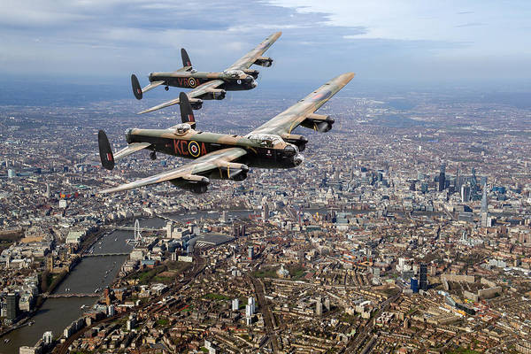 Digital Art - Two Lancasters Over London by Gary Eason