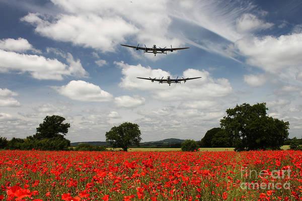 Appeal Digital Art - Two Lancasters Poppy Pass  by J Biggadike