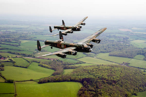 Digital Art - Two Lancs Over Bucks by Gary Eason