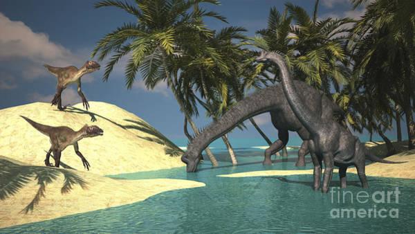 Digital Art - Two Large Brachiosaurus Grazing by Kostyantyn Ivanyshen
