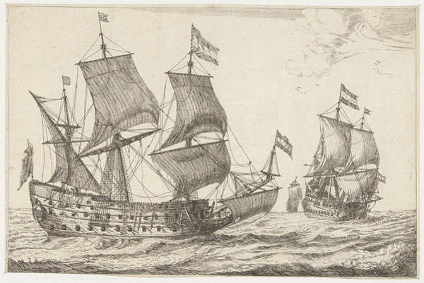 Wall Art - Drawing - Two Large Warships, Print Maker Anonymous by Anonymous And Reinier Nooms