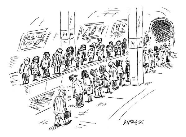 Subway Drawing - Two Lines Of People Await The Subway by David Sipress