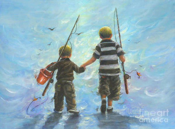 Boys Room Painting - Two Little Boys Going Fishing by Vickie Wade