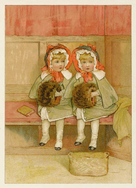 Wall Art - Drawing - Two Little Girls In Church by Mary Evans Picture Library