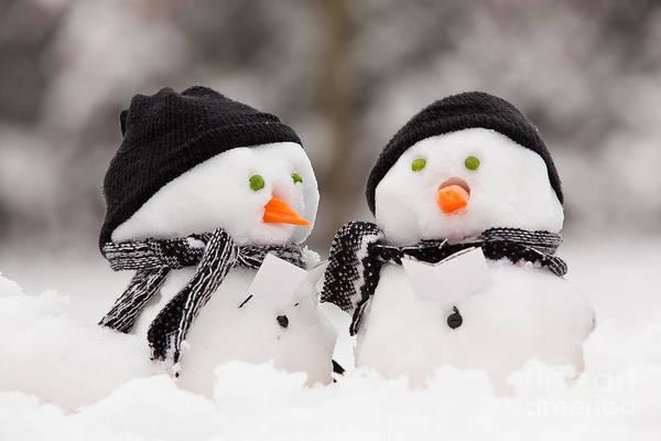 Carol Singing Photograph - Two Little Snowmen by Simon Bratt Photography LRPS