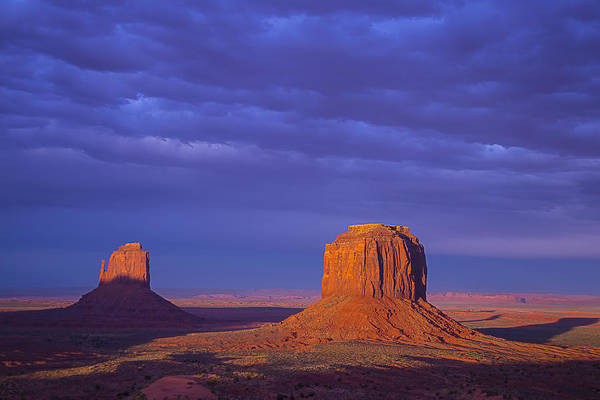 Monument Valley Navajo Tribal Park Wall Art - Photograph - Two Lone Buttes by Garry Gay