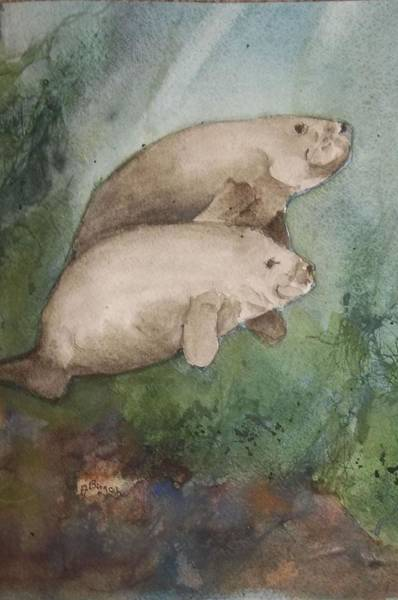 Painting - Two Manatee by Audrey Bunchkowski