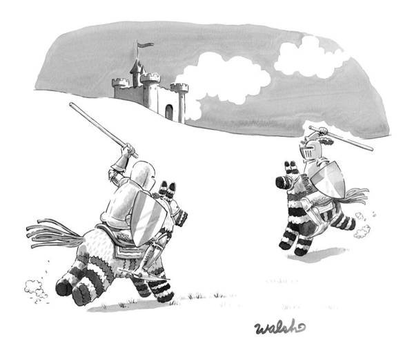 Drawing - Two Medieval Knights Joust On Pinatas by Liam Walsh