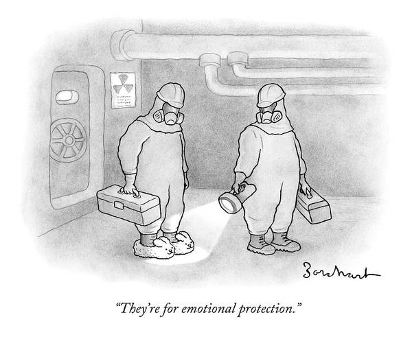 November 11th Drawing - Two Men Are In Hazmat Suits And One Is Wearing by David Borchart