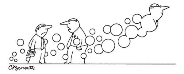 Past Drawing - Two Men Are Speaking With Each Other As Bubbles by Charles Barsotti