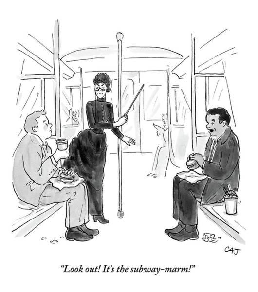 Subway Drawing - Two Men Eating On The Subway Receive Reproachful by Carolita Johnson