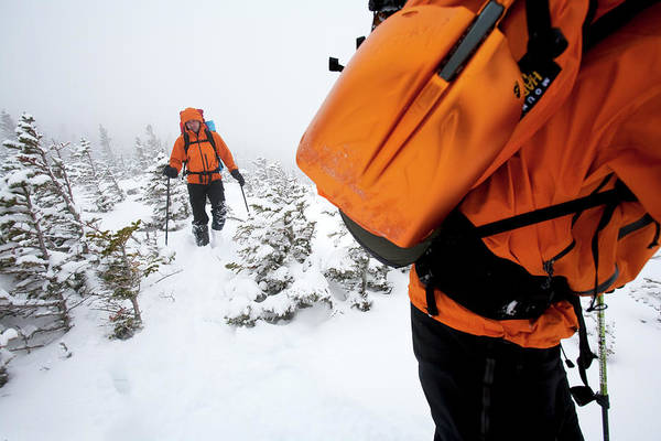 New Years Day Photograph - Two Men Hiking In The Snow On Mt by Jose Azel
