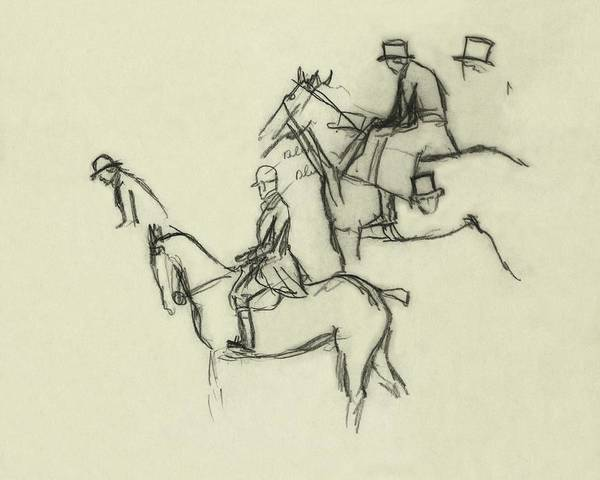 Animals Digital Art - Two Men Horse Riding by Carl Oscar August Erickson