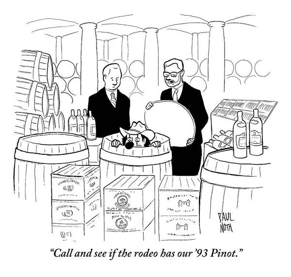 Waiter Drawing - Two Men In A Wine Cellar Find A Clown In One by Paul Noth