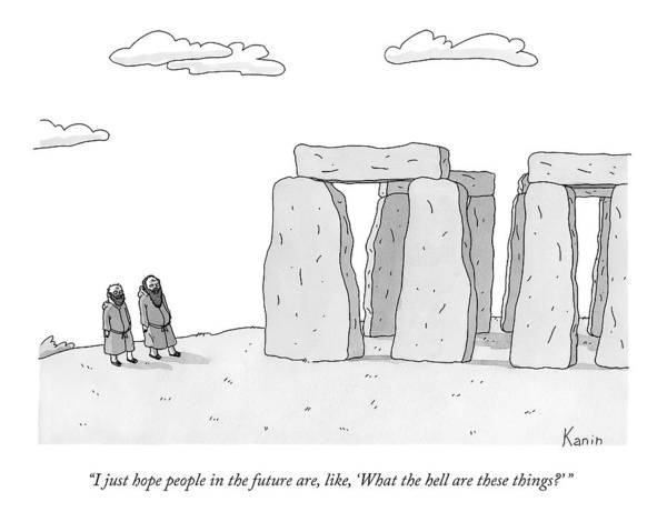 Future Drawing - Two Men In Robes Chat Beside Stonehenge by Zachary Kanin