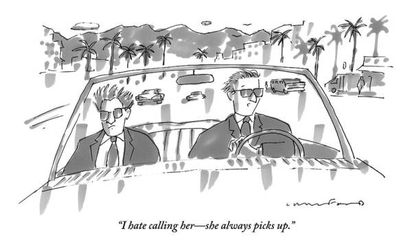 November 2nd Drawing - Two Men In Suits Riding In A Convertible by Michael Crawford