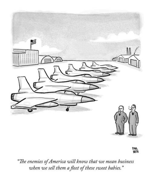 Sweet Drawing - Two Men Look At A Hanger Of Fighter Jets by Paul Noth