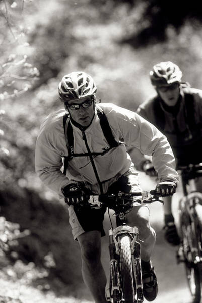 Wall Art - Photograph - Two Men Mountain Bike In Salt Lake by Scott Markewitz
