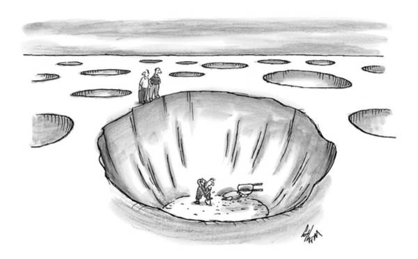 Edge Drawing - Two Men Stand At The Edge Of A Giant Hole by Frank Cotham
