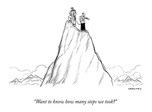 Exercise Drawing - Two Men Stand At The Peak Of A Mountain.  One Man by Alex Gregory