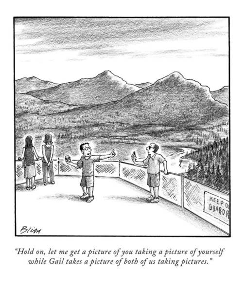 April 20th Drawing - Two Men Take Pictures At A Mountain Overlook by Harry Bliss