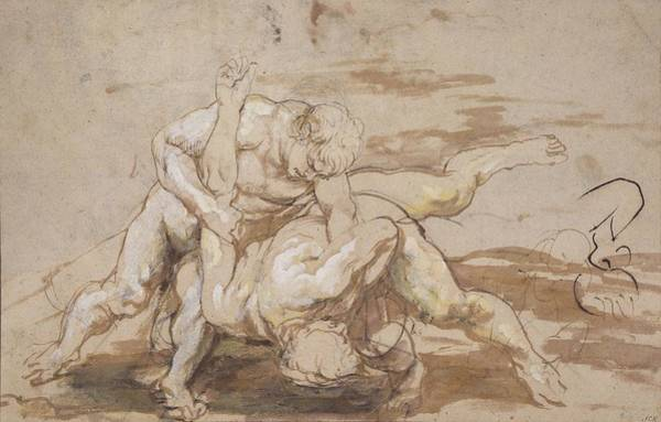 Baroque Drawing - Two Men Wrestling by Peter Paul Rubens