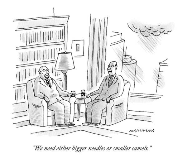 Heaven Drawing - Two Middle Age Men In Suits Talk In An Office by Mick Stevens