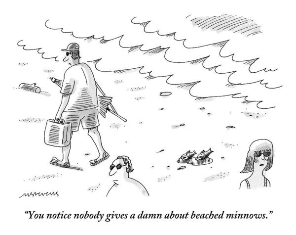 Beaches Drawing - Two Minnows Lay On The Beach As Beach Goers Walk by Mick Stevens