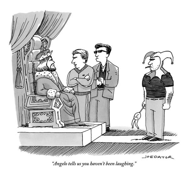 Laugh Drawing - Two Mobster Tough Guys Confront A King On Behalf by Joe Dator