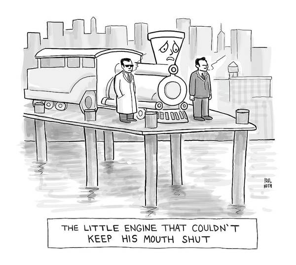 Pier Drawing - Two Mobsters Stand With A Scared Looking Cartoon by Paul Noth