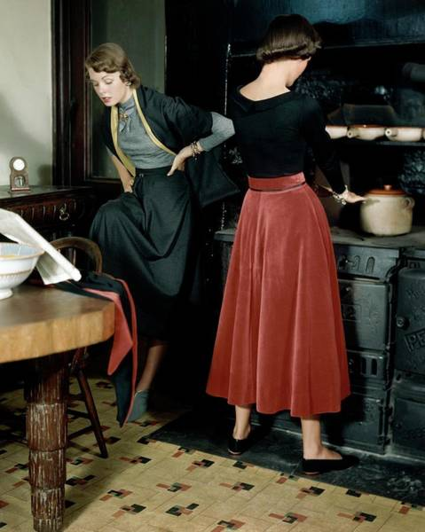Reading Photograph - Two Models In A Ski Lodge Kitchen by Frances McLaughlin-Gill