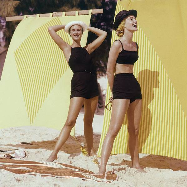 Coastline Photograph - Two Models On A Beach by Frances McLaughlin-Gill