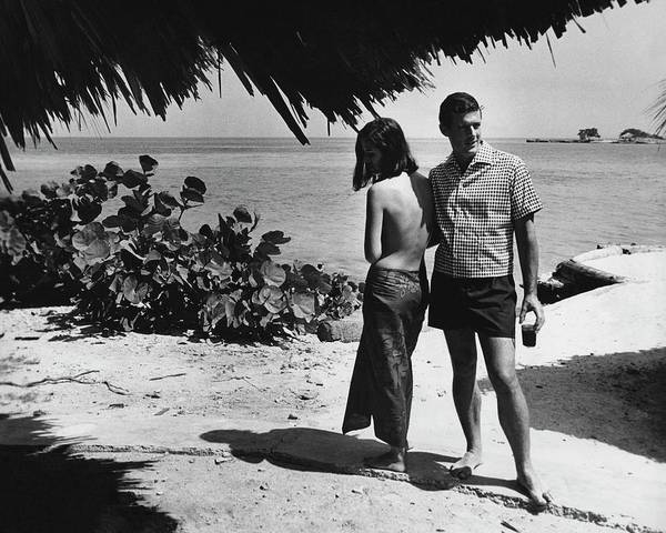 Bush Photograph - Two Models On A Beach by Peter Levy
