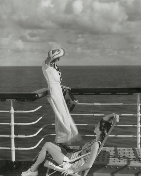 Polynesia Wall Art - Photograph - Two Models On The Deck Of A Cruise Ship by Edward Steichen