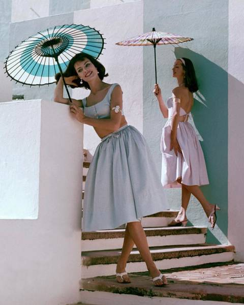 Blue Photograph - Two Models Posing With Parasols by Frances Mclaughlin-Gill