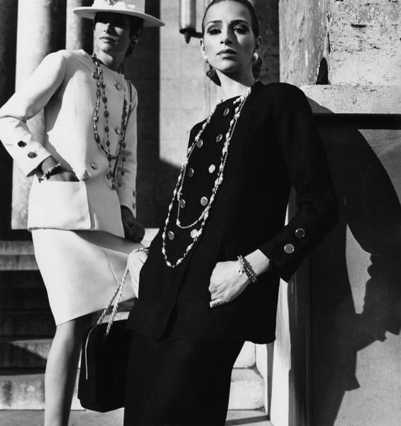Facade Photograph - Two Models Wearing Chanel Suits by Henry Clarke
