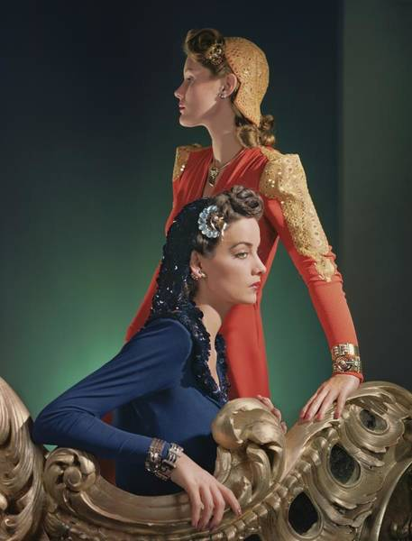 Furniture Photograph - Two Models Wearing Evening Gowns by Horst P. Horst