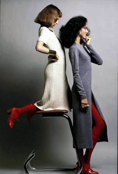 Wall Art - Photograph - Two Models Wearing Knit Dresses by Bert Stern