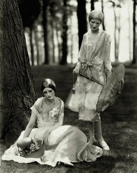 July 15th Photograph - Two Models Wearing Masks by Edward Steichen