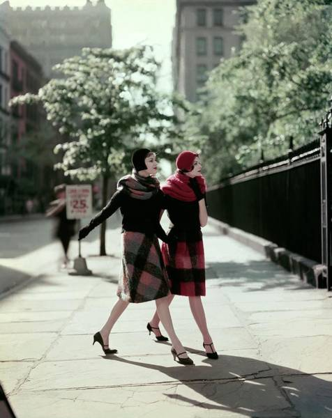 Urban Scene Photograph - Two Models Wearing Plaid Mohair Skirts And Stoles by Sante Forlano