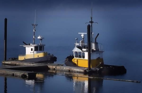 Photograph - Two Moored Tugs by Richard Farrington