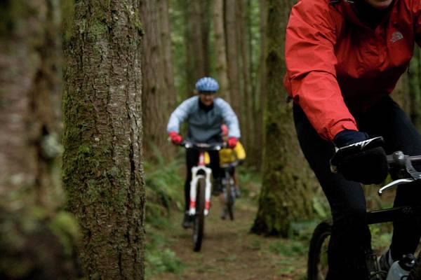 Wall Art - Photograph - Two Mountain Bikers Out Riding A Single by Jordan Siemens
