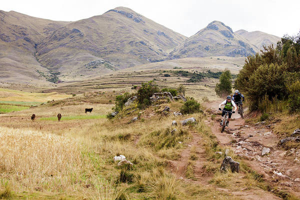 Cusco Photograph - Two Mountain Bikers Ride A Rocky Trail by Dan Barham