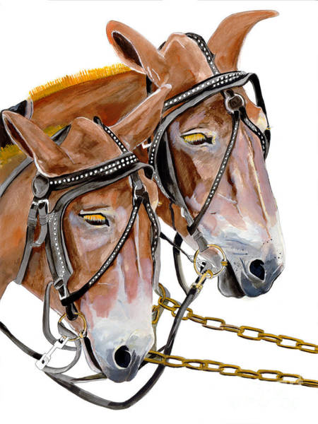 Painting - Two Mules - Enhanced Color - Farmer's Friend by Jan Dappen