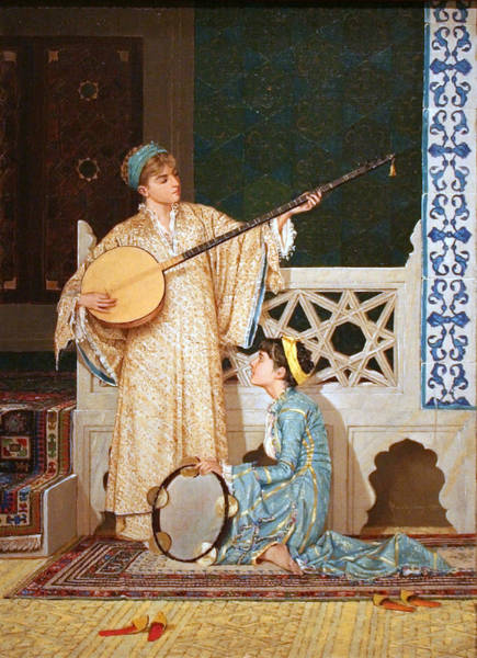 Wall Art - Painting - Two Musician Girls by Celestial Images