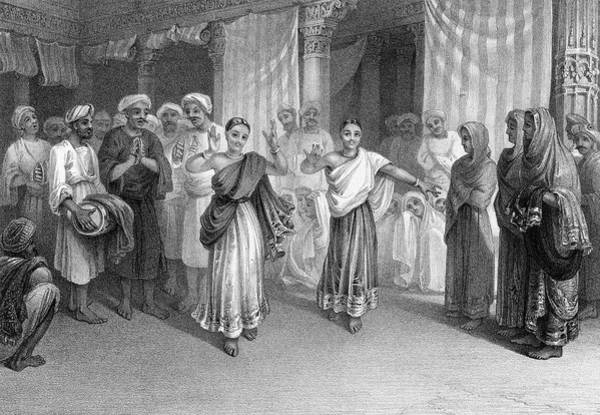 Wall Art - Drawing - Two Nautch (dancing) Girls  Perform by Mary Evans Picture Library